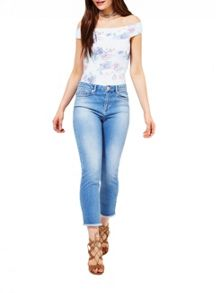 Miss Selfridge Blue Floral Bardot Body