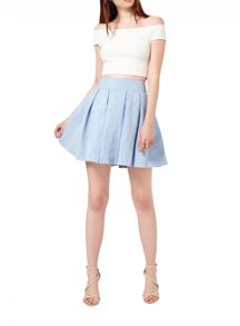 Miss Selfridge Blue Jacquard Skater Skirt