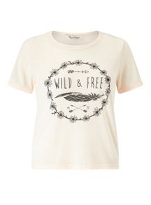 Miss Selfridge Soft Pink Wild And Free Tee
