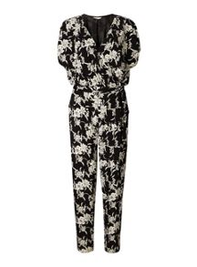 Miss Selfridge Mono Floral Wrap Jumpsuit