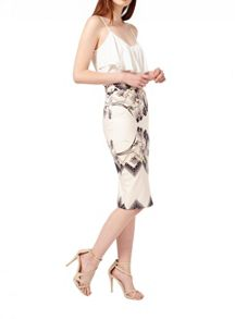 Miss Selfridge Nude Floral Print Pencil Skirt