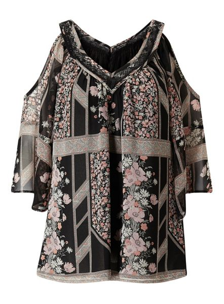 Miss Selfridge Print Lace Cold Shoulder