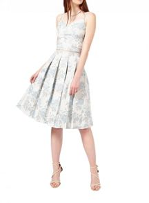 Miss Selfridge Blue Jacquard Midi Skirt