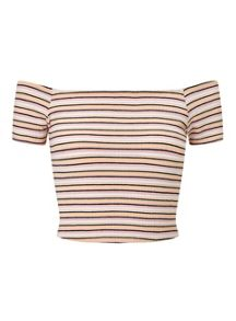 Miss Selfridge Petites Coral Multi Stripe Top