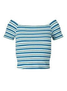Miss Selfridge Petites Blue Stripe Bardot Top