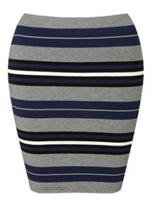 Miss Selfridge Petites Navy Stripe Mini Skirt