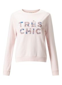 Miss Selfridge Pink Tres Chic Sweat
