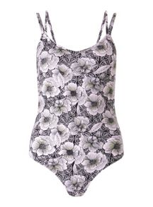 Miss Selfridge Tropical Print Strappy Body
