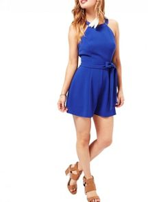 Miss Selfridge Petites Blue 90`S Playsuit