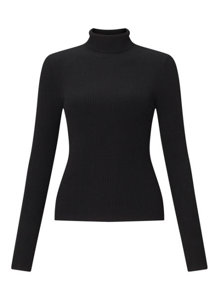 Miss Selfridge Black Knitted Rib Roll Neck