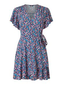 Miss Selfridge Petites Navy Floral Wrap Dress