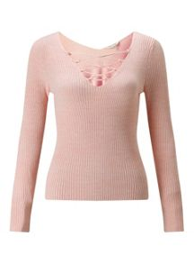 Miss Selfridge Pink Lace Up V Back Top