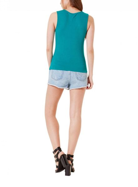 Miss Selfridge Green Sleeveless Lattice Top