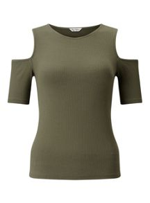 Miss Selfridge Khaki Rib Cold Shoulder Top