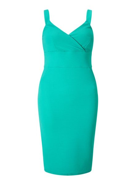 Miss Selfridge Green Wrap Rib Bodycon Dress