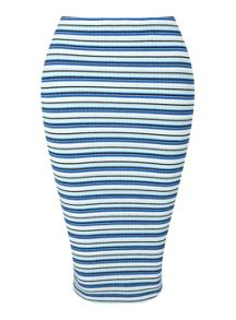 Miss Selfridge Petites Blue Stripe Midi Skirt