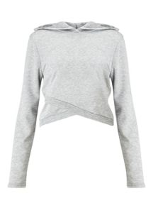 Miss Selfridge Grey Wrap Crop Hooded Sweat
