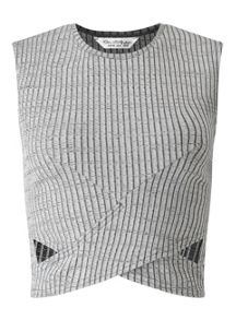 Miss Selfridge Grey Cut Out Rib Crop