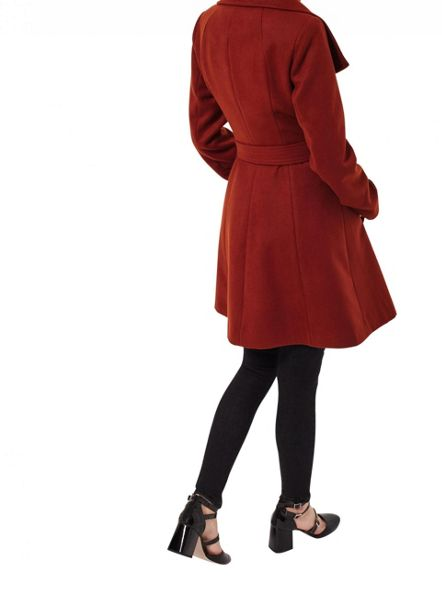 Miss Selfridge Rust Wrap Fit And Flare Coat