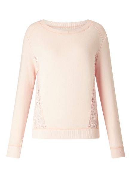 Miss Selfridge Nude Crochet Side Sweat
