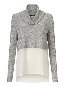 Grey Crop Knitted 2 In 1 Top