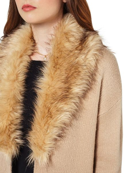Miss Selfridge Camel Fur Coatigan