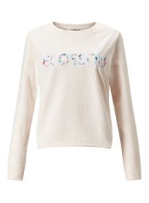 Miss Selfridge Nude Blossom Sweat