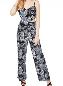 Miss Selfridge Print Cutout Jumpsuit