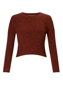 Miss Selfridge Petites Rust Crop Rib Jumper