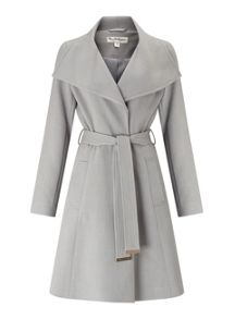 Miss Selfridge Grey Wrap Fit And Flare Coat