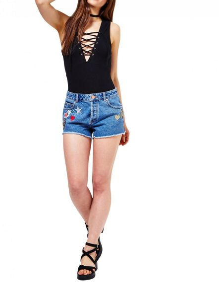 Miss Selfridge Badge Denim Short