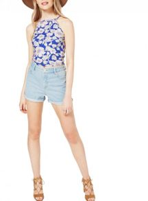 Miss Selfridge Rose Embroidered Denim Short