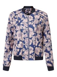 Miss Selfridge Leaf Print Bomber