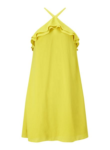 Miss Selfridge Chartreuse Ruffle Halter Dress
