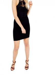 Miss Selfridge Black Applique Bodycon Dress