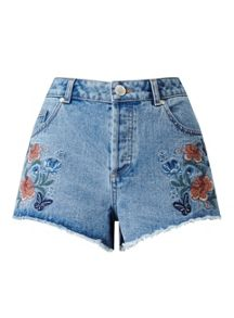 Miss Selfridge Floral Embroidered Denim Short