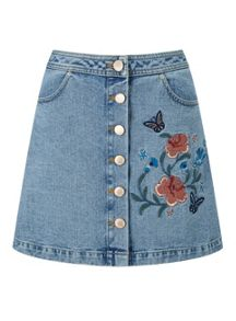 Miss Selfridge Floral Embroidered Denim Skirt