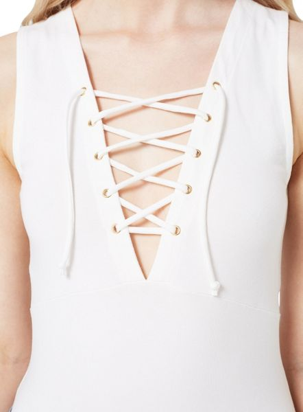 Miss Selfridge White Sleeveless Lattice Body