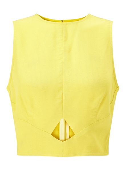 Miss Selfridge Chartreuse Peekaboo Shell