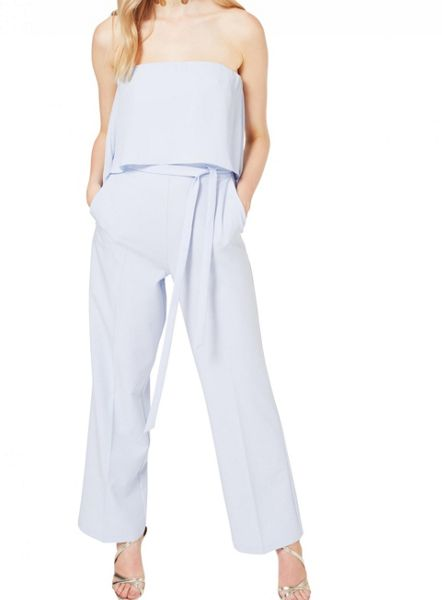 Miss Selfridge Blue Bandeau Jumpsuit