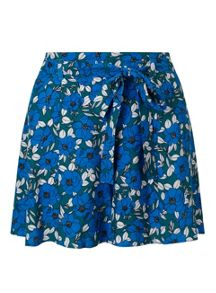 Miss Selfridge Blue Floral Tie Short