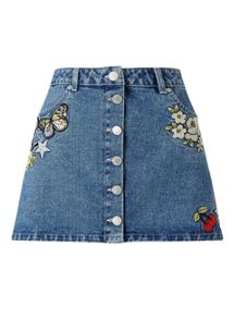 Miss Selfridge Petites Denim Badge Mini Skirt