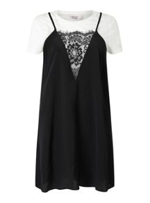 Miss Selfridge Petites 2 In 1 Lace Slip Dress