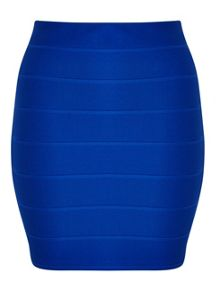 Miss Selfridge Petites Blue Rib Mini Skirt