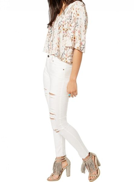 Miss Selfridge Floral Lace Up Back Tee