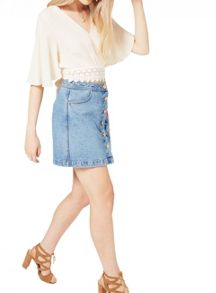 Miss Selfridge Cream Lace Hem Tee