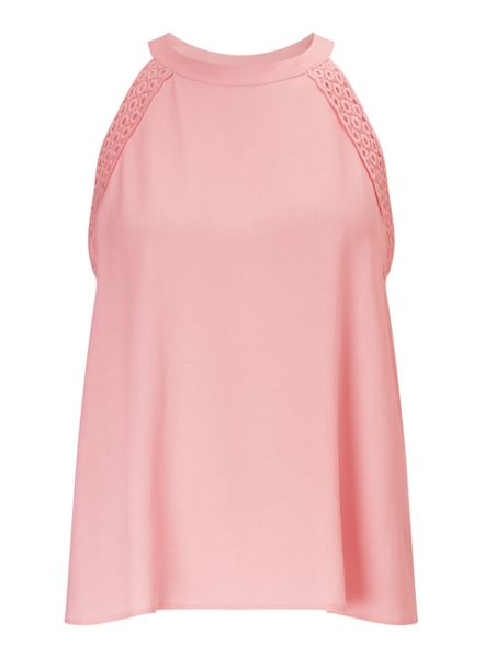 Miss Selfridge Pink Lace Insert Shell Top