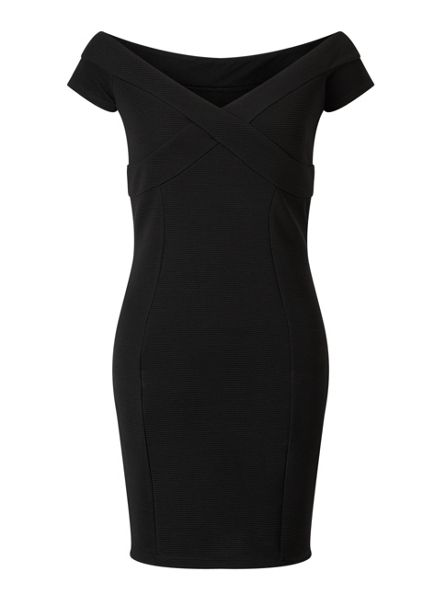 Miss Selfridge Black Bardort Bodycon Dress
