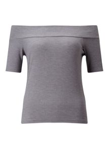 Miss Selfridge Grey Marl Rib Bardot Top