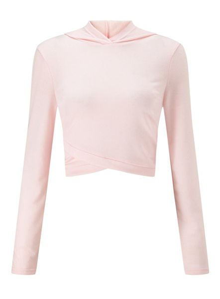 Miss Selfridge Pink Wrap Crop Sweat